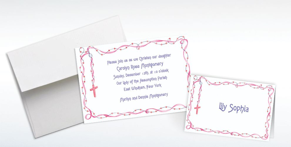 Custom Rosary with Pink Ribbon Invitations and Thank You Notes