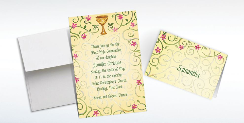Custom Chalice with Spring Flowers Invitations and Thank You Notes