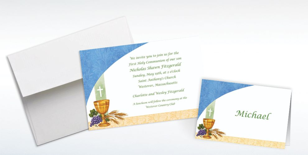 Custom Chalice with Blue Pattern Invitations and Thank You Notes