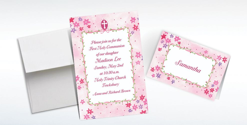 Custom Cross with Pink Buds Invitations and Thank You Notes