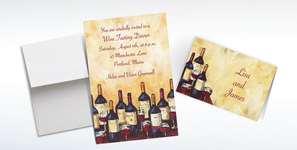 Custom Painterly Wine Tasting Invitations and Thank You Notes