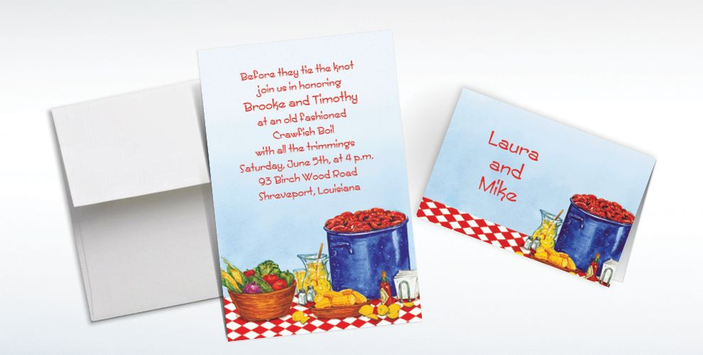 Custom Party with Crawfish Invitations and Thank You Notes