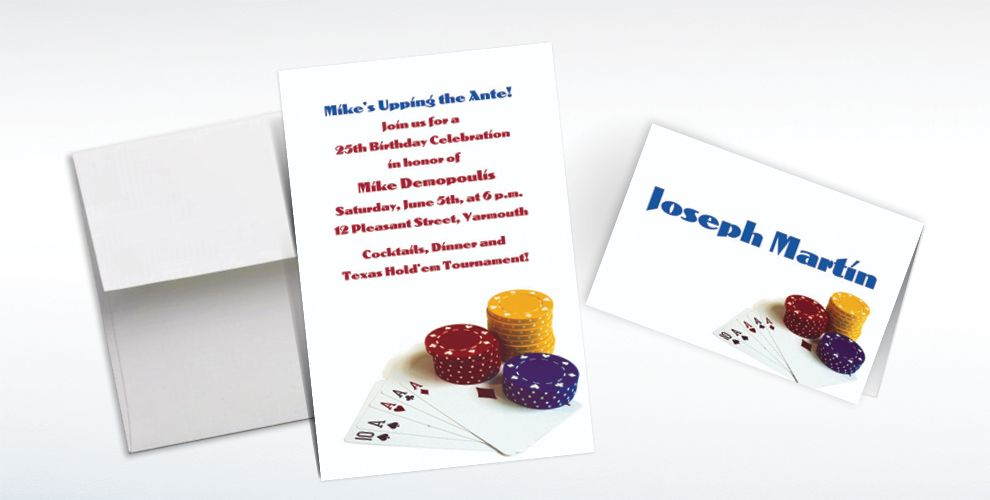 Custom Poker Table Invitations and Thank You Notes