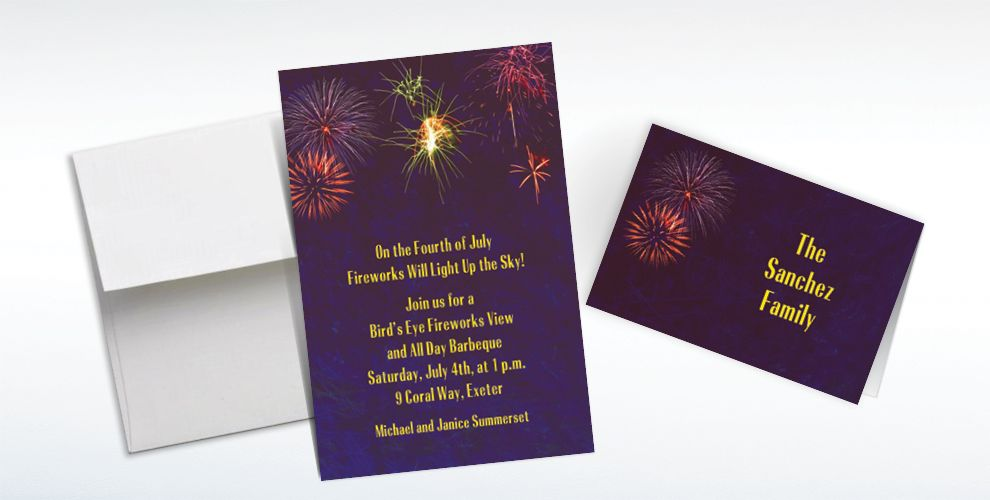 Custom Fireworks Invitations and Thank You Notes