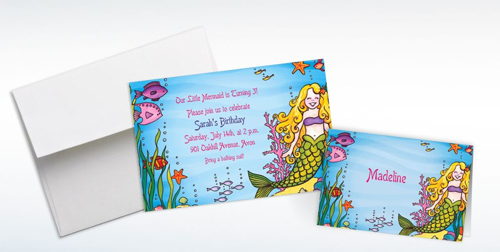 Custom Underwater Mermaid Invitations and Thank You Notes