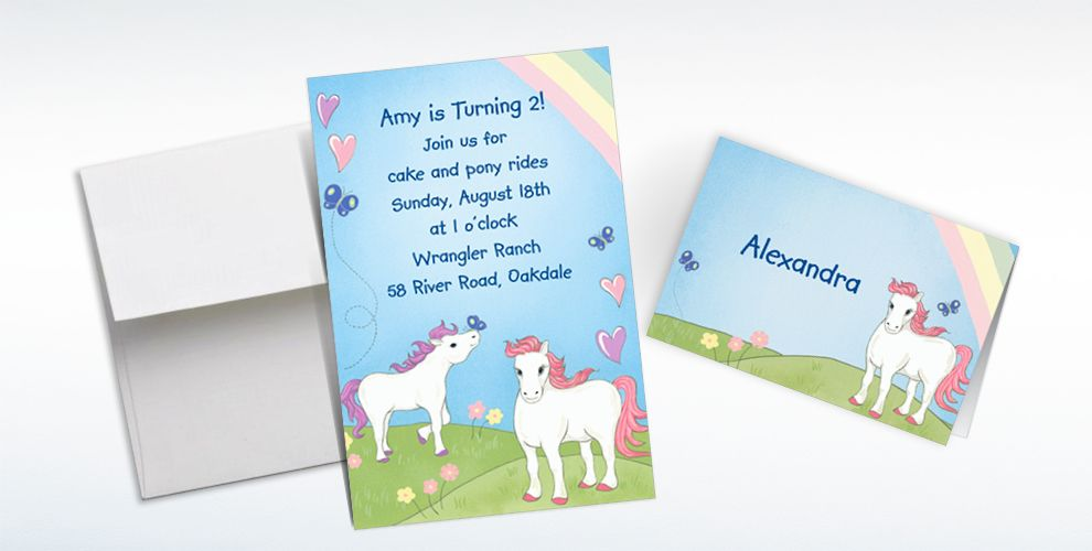 Custom Pretty Ponies Invitations and Thank You Notes