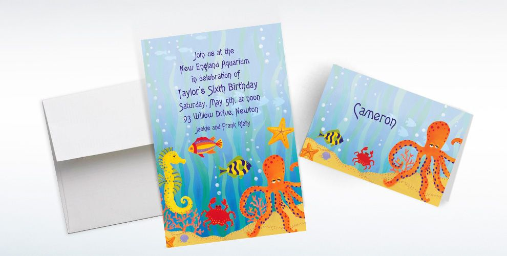 Custom Under the Ocean Invitations and Thank You Notes