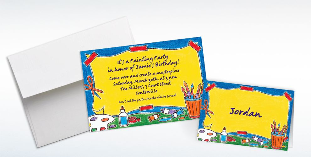 Custom Artists' Party Invitations and Thank You Notes