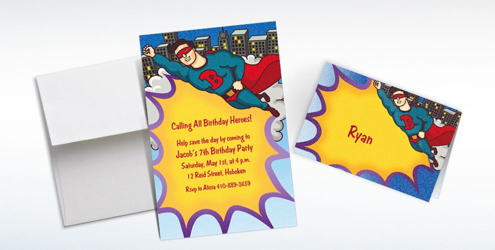 Custom Flying Superhero Invitations and Thank You Notes