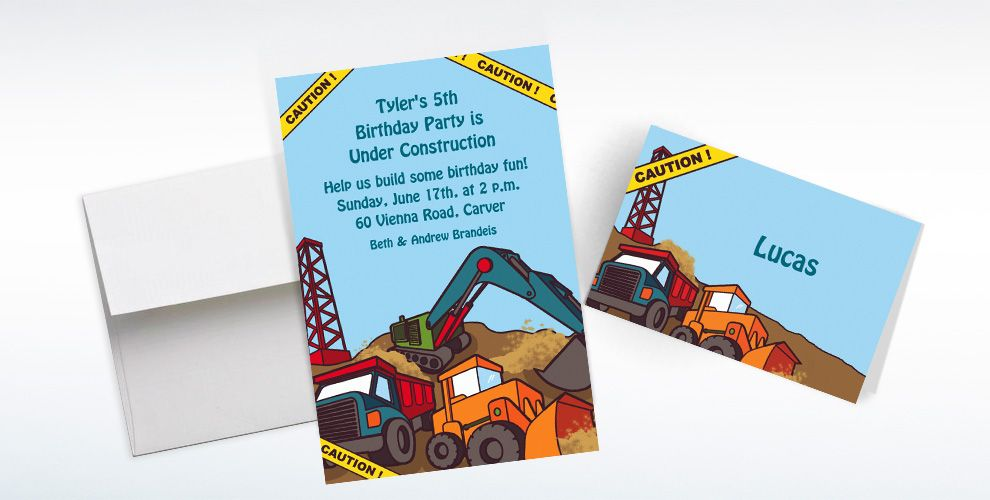 Custom Construction Site Invitations and Thank You Notes