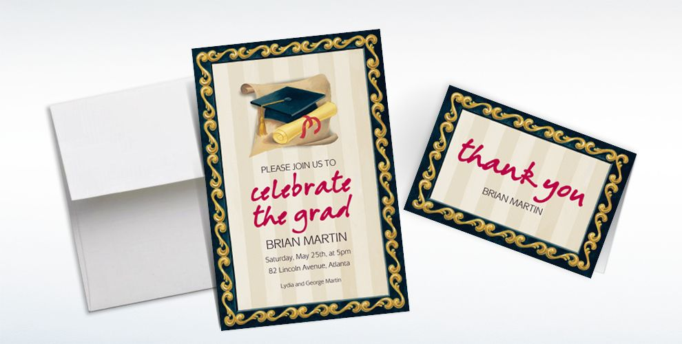 Custom Black Grad Portrait Graduation Invitations and Thank You Notes