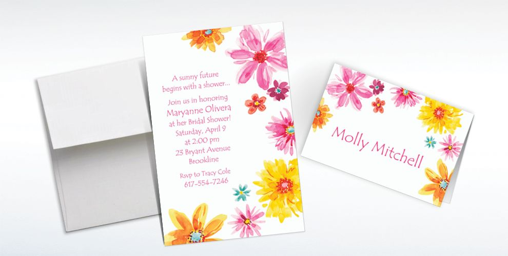 Custom Big Painterly Flowers Invitations and Thank You Notes