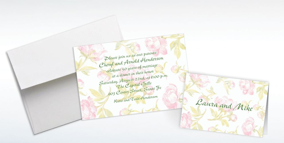 Custom Soft Peony Background Invitations and Thank You Notes