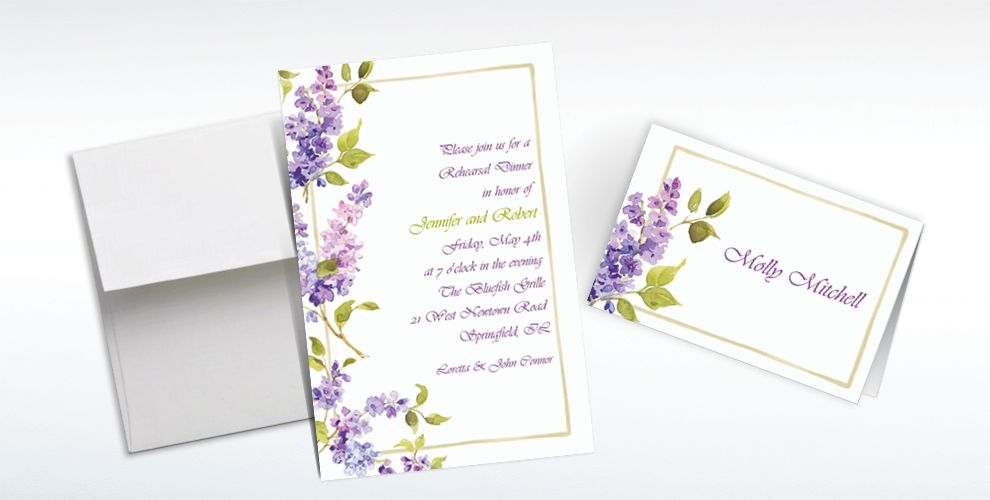 Custom Pretty Posed Lilacs Invitations and Thank You Notes