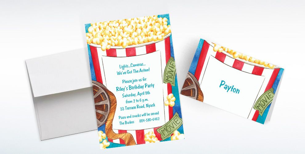 Custom Movie Night Invitations and Thank You Notes