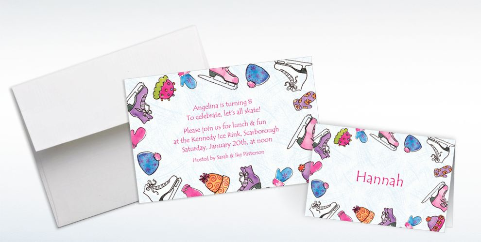 Custom Girl\'s Ice Skating Party Invitations & Thank You Notes ...