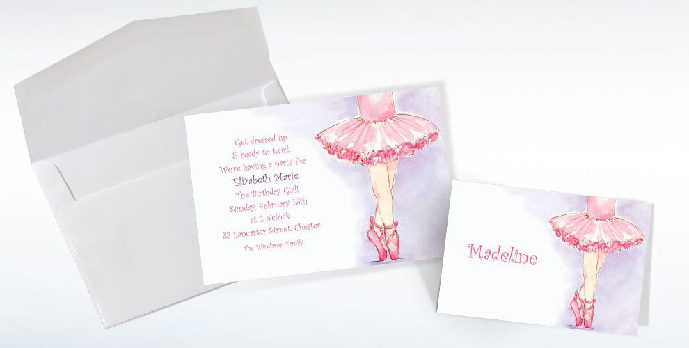 Custom Little Ballerina Invitations and Thank You Notes