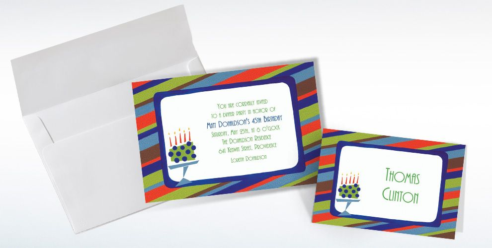 Custom Fetching Cake on Stripe Invitations and Thank You Notes