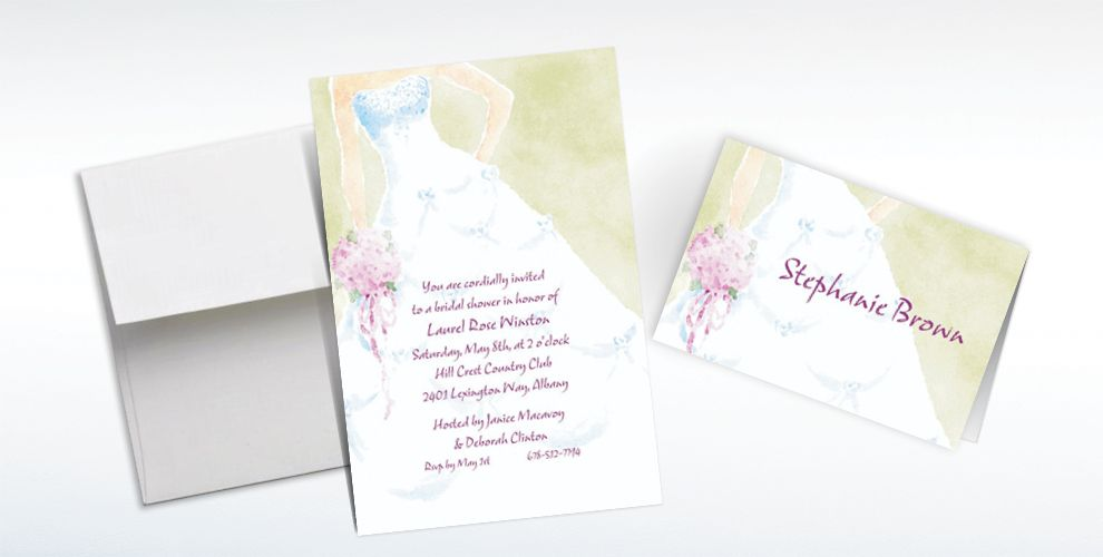 Custom Soft Fashion Gown Wedding Invitations and Thank You Notes