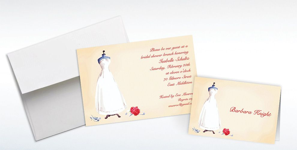 Custom Bridal Gown Dress Form Bridal Shower Invitations and Thank You Notes