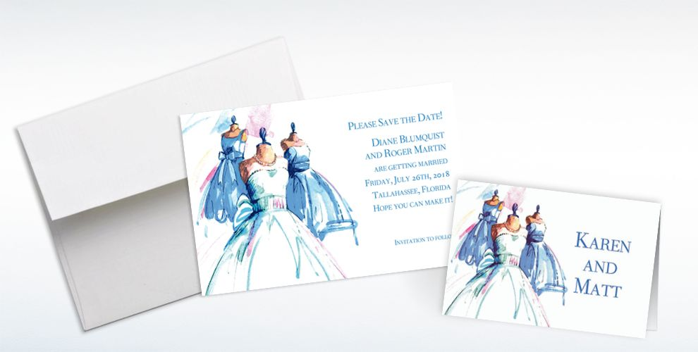 Custom Bride and Maids Gowns Wedding Invitations and Thank You Notes