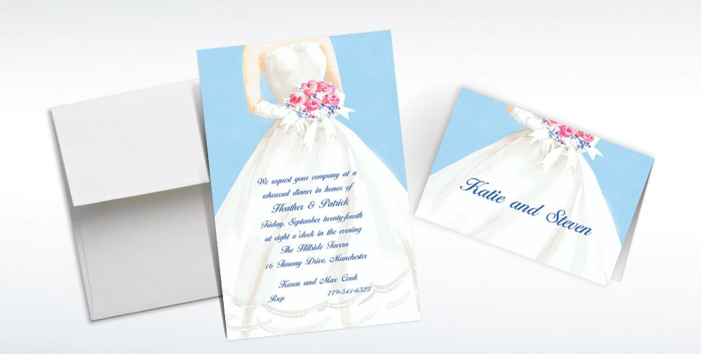 Custom Serene Bride with Bouquet Bridal Shower Invitations and Thank You Notes