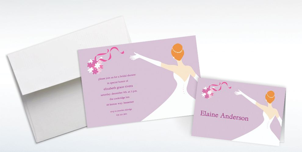 Custom Elegant Bouquet Toss Wedding Invitations and Thank You Notes