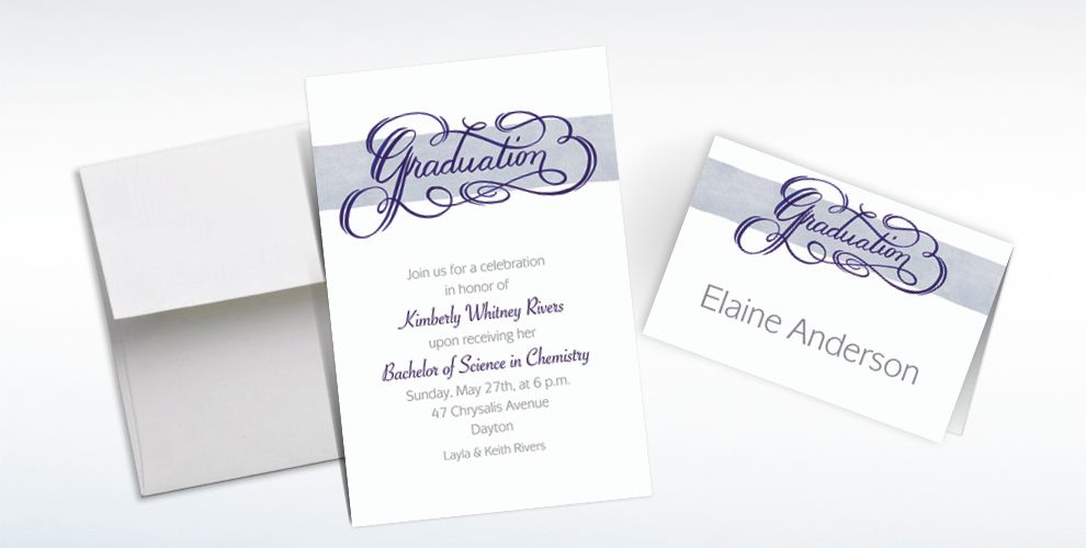 Custom Calligraphic Graduation Invitations and Thank You Notes