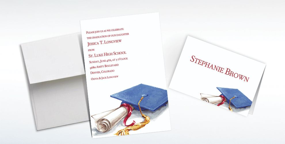 Custom Cap and Diploma Graduation Invitations and Thank You Notes