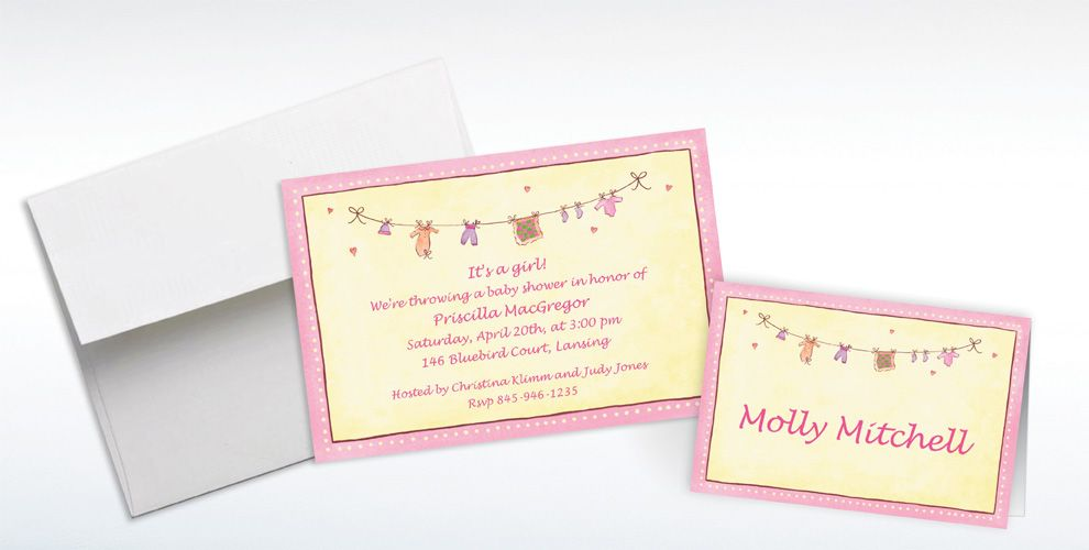 Custom Pink Laundry Baby Shower Invitations and Thank You Notes