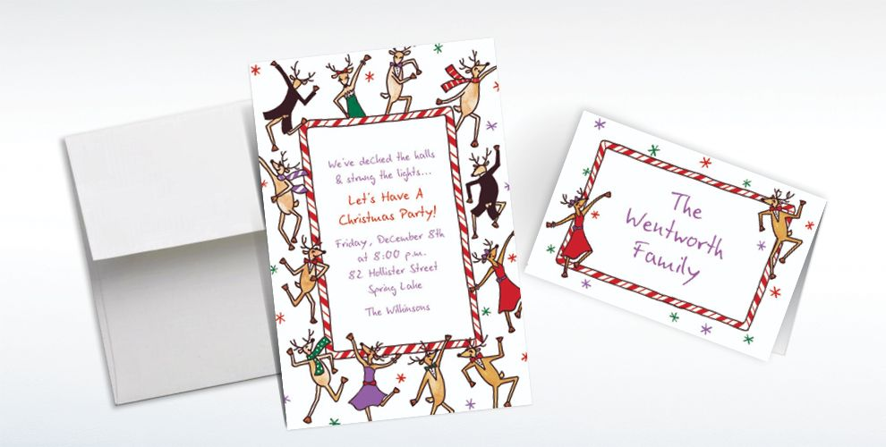 Custom Dancing Reindeer Invitations and Thank You Notes