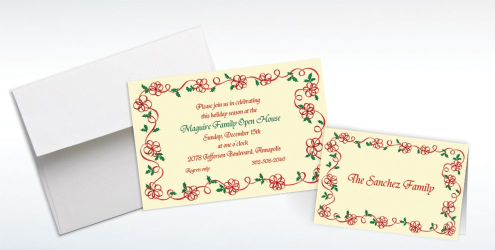 Custom Ribbon Border with Holly Invitations and Thank You Notes
