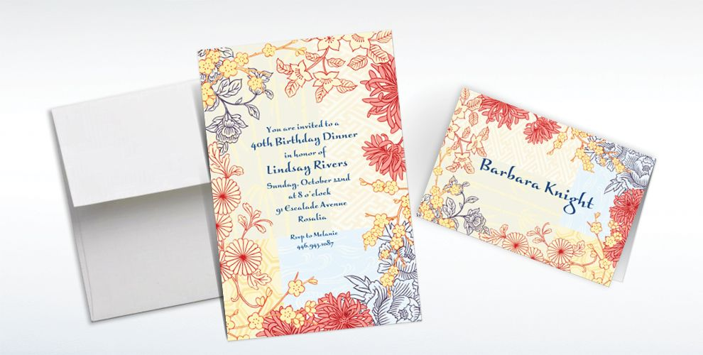 Custom Asian Pastiche Invitations and Thank You Notes