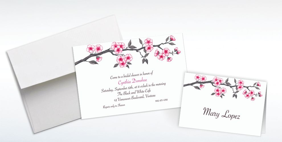 Custom Blooming Branches Invitations and Thank You Notes