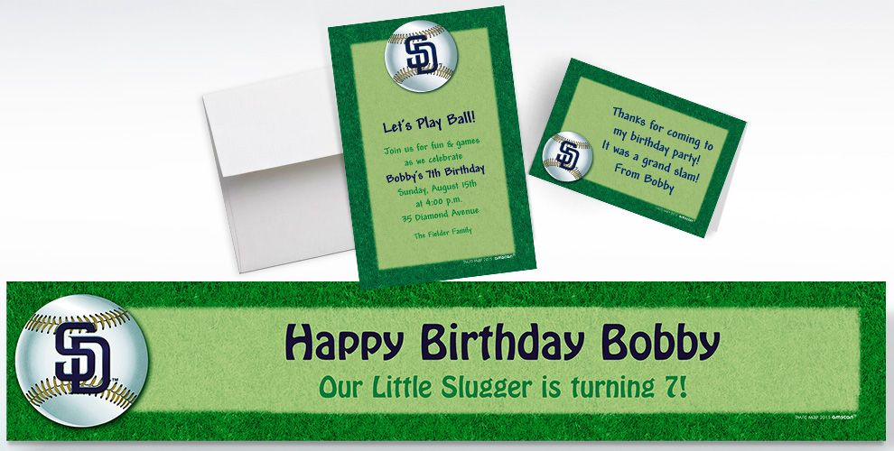 Custom San Diego Padres Invitations and Thank You Notes