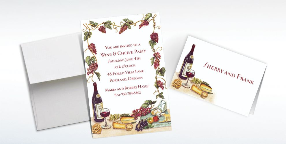 Custom Wine, Cheese and Grape Vines Invitations and Thank You Notes