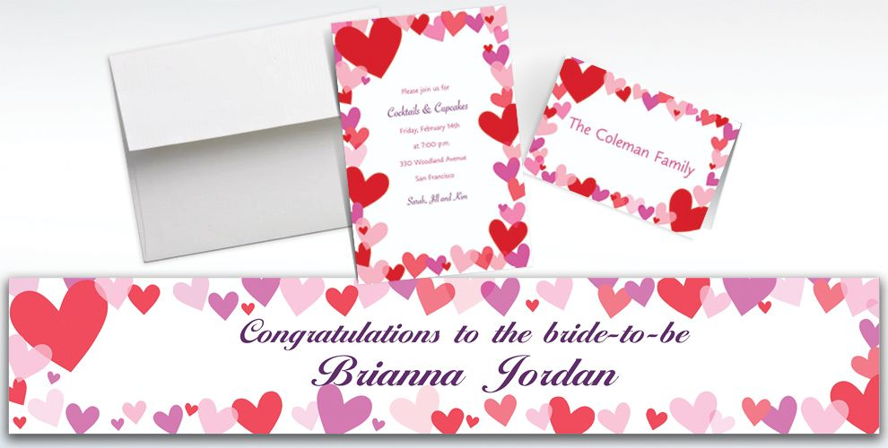 Custom Hearts Valentine's Day Invitations and Thank You Notes