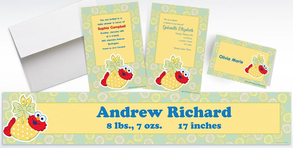 Custom Baby Elmo Baby Shower Invitations and Thank You Notes
