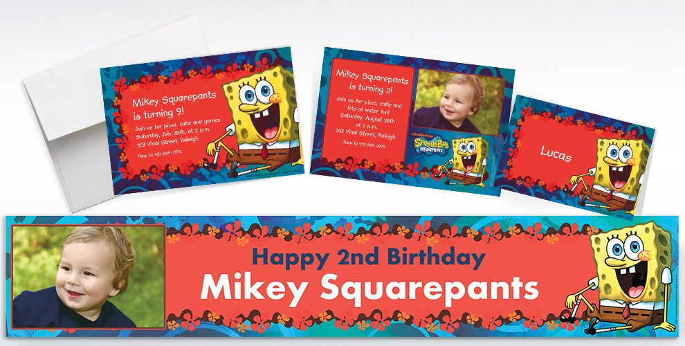 Custom SpongeBob Simply Invitations, Thank You Notes and Banners