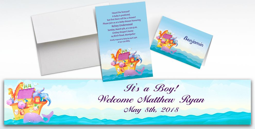 Custom Two By Two Baby Shower Invitations and Thank You Notes