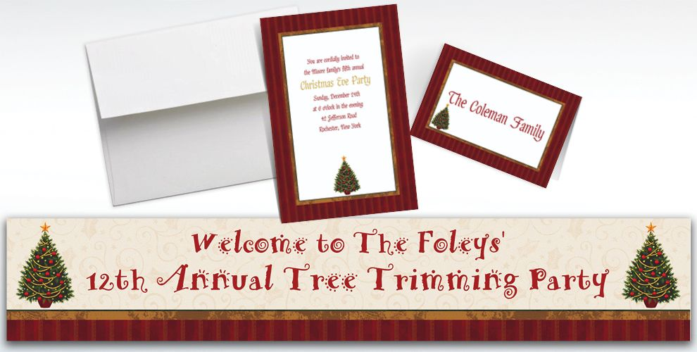 Custom Twinkling Tree Christmas Invitations and Thank You Notes