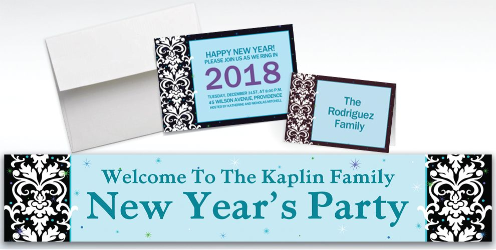 Custom Elegant New Year's Invitations and Thank You Notes