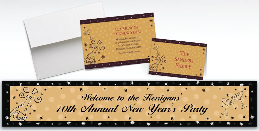 Custom Midnight Toast New Year's Invitations and Thank You Notes