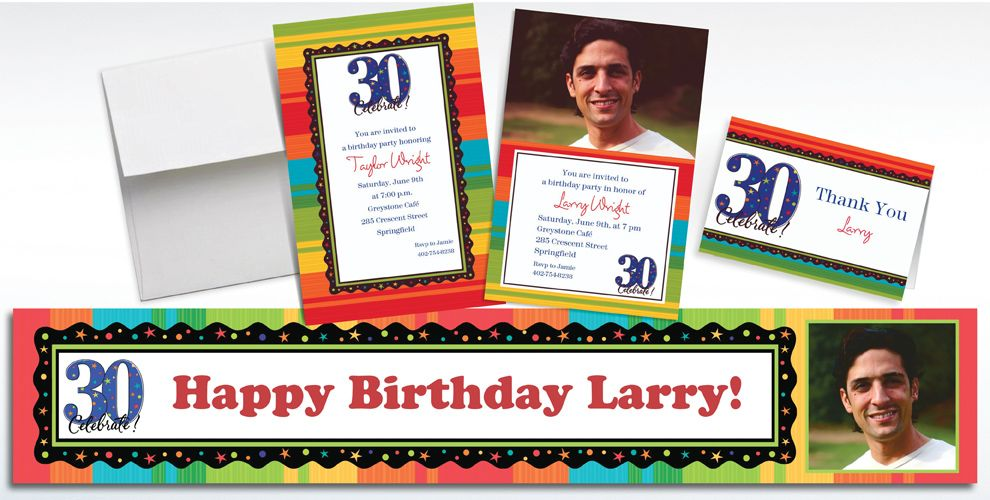 Custom A Year to Celebrate 30th Birthday Invitations, Thank You Notes and Banners
