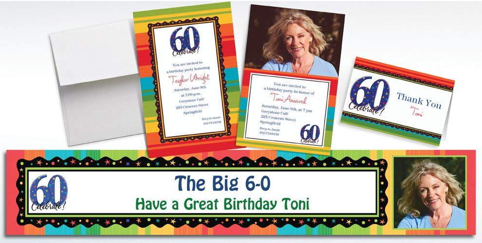 Custom A Year to Celebrate 60th Birthday Invitations