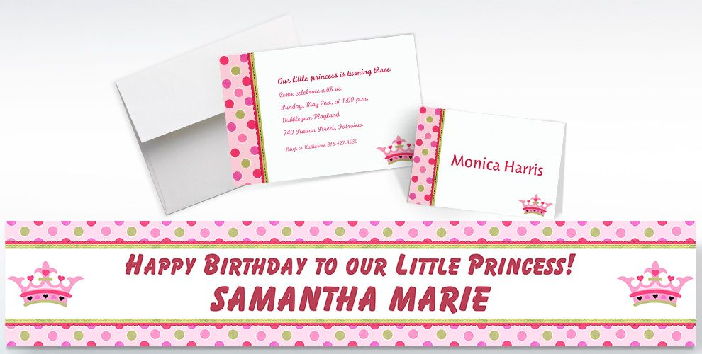 Custom Little Princess Invitations, Thank You Notes and Banners