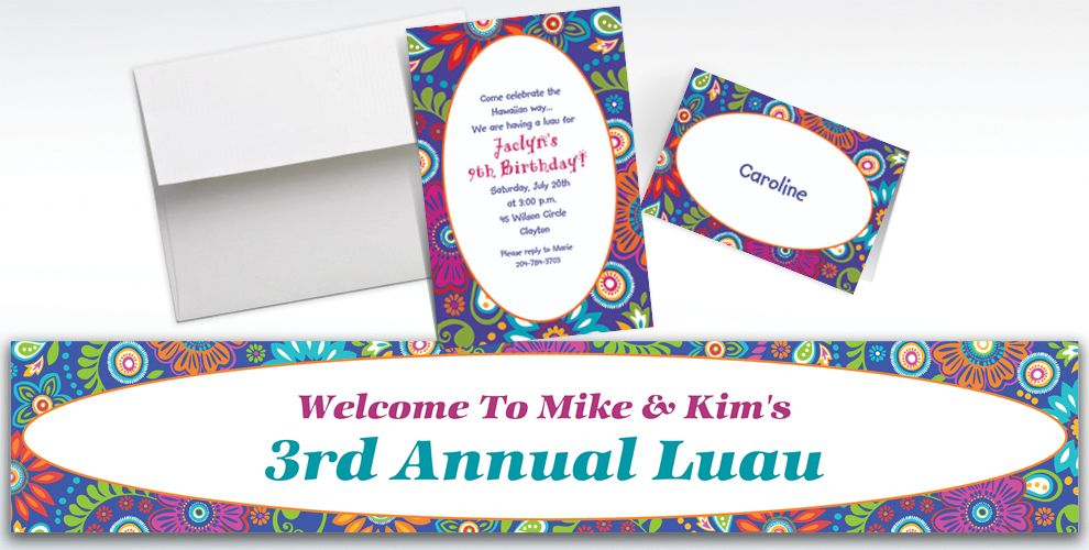 Custom Island Getaway Luau Invitations and Thank You Notes