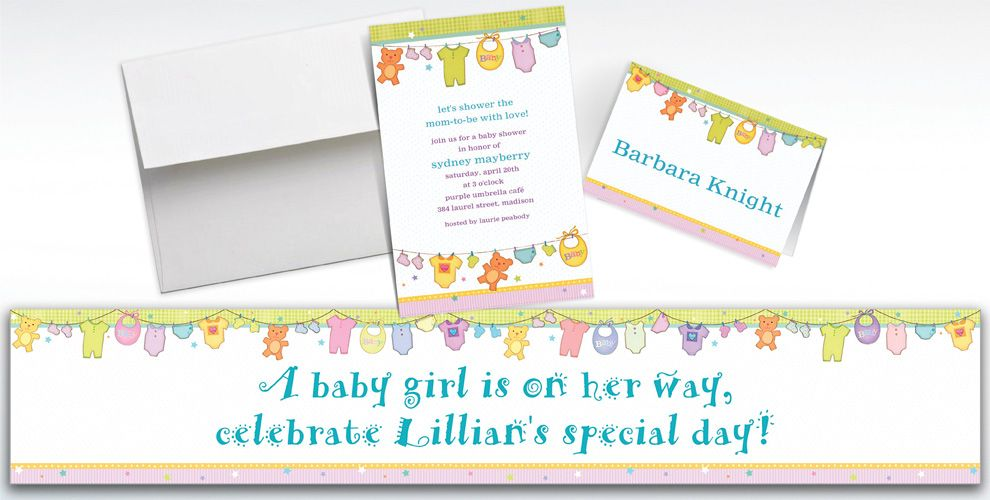 Custom Cuddly Clothesline Baby Shower Invitations and Thank You Notes