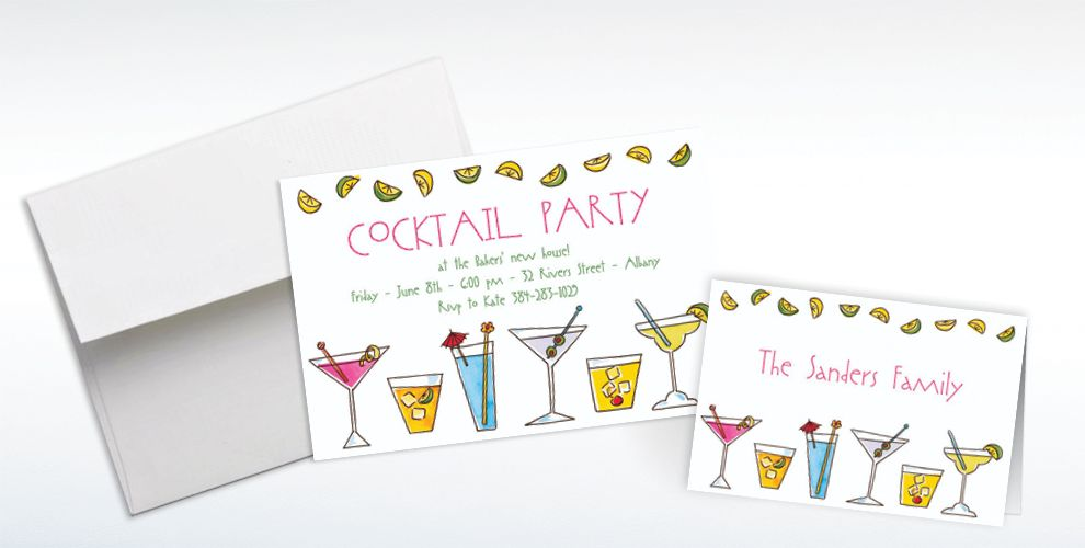 Custom Mixed Drinks Invitations and Thank You Notes