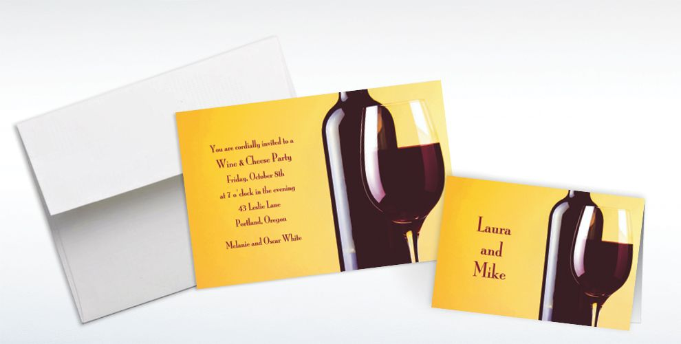 Custom Wine and Glass Invitations and Thank You Notes